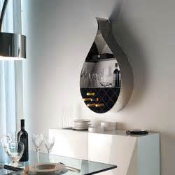 wall mounted wine rack adds seducing drop shaped design to dining room decorating