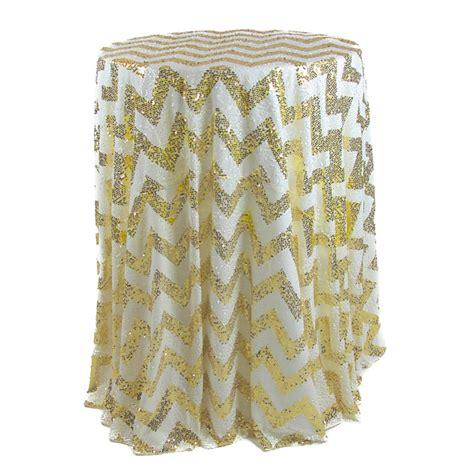 chevron 120 sequin tablecloth gold