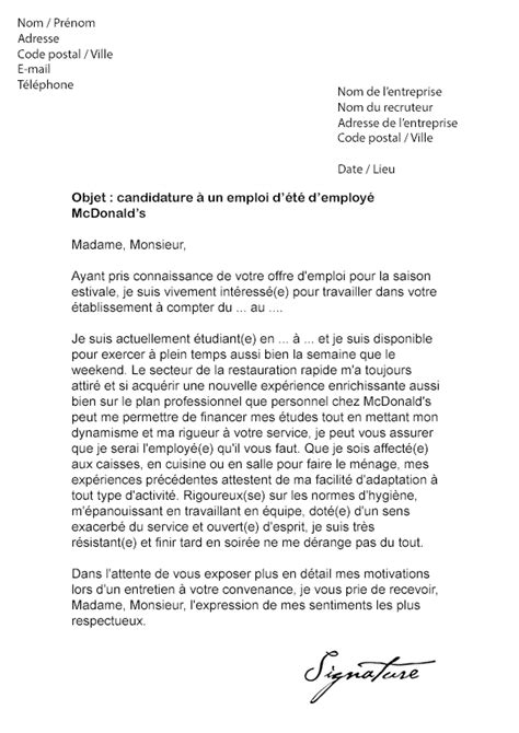 Exemple De Lettre De Motivation Mcdonald Etudiant Lettre De Motivation D 233 T 233 Mcdo Mod 232 Le De Lettre