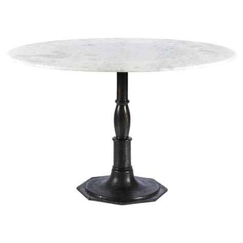 modern pedestal dining table hervey modern white marble cast iron pedestal