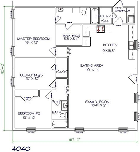 40x40 floor plans pole barn home plans