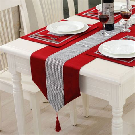 red table runner with 5 led lights european style luxury flannel table runner banquet wedding decoration supplies