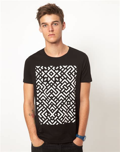 Asos Printed T Shirt Mens by Lyst Asos T Shirt With Abstract Print In Black For