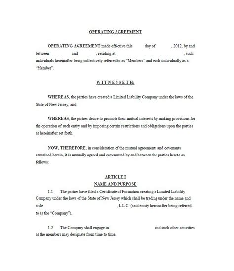 llc operating agreement free template 30 professional llc operating agreement templates