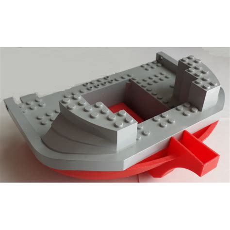 lego boat red lego boat hull 16 x 22 with medium stone gray top 47980