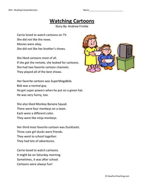 Reading Comprehension Worksheets 1st Grade by Reading Comprehension Worksheet