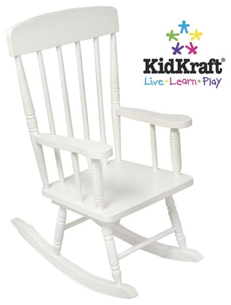 White Childs Rocking Chair by Chair Kidkraft Spindle Rocking Chair In White Color