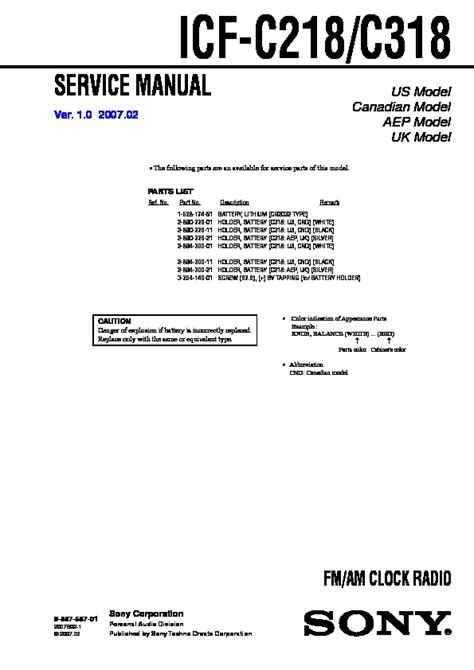 Sony Icf C218 Serv Man2 Service Manual View Online Or