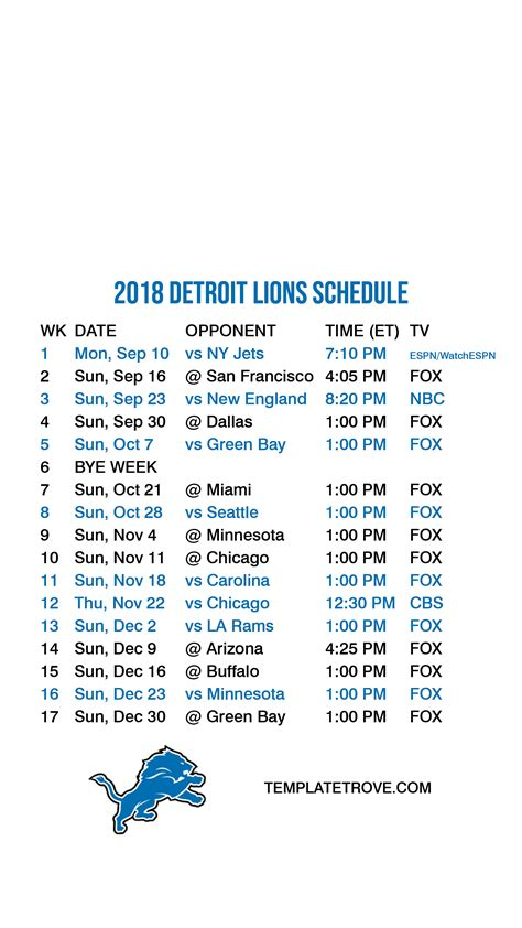 detroit lions lock screen schedule  iphone