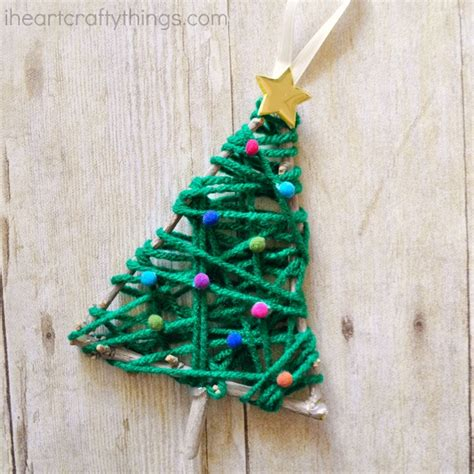 yarn wrapped christmas tree twig ornament i heart crafty