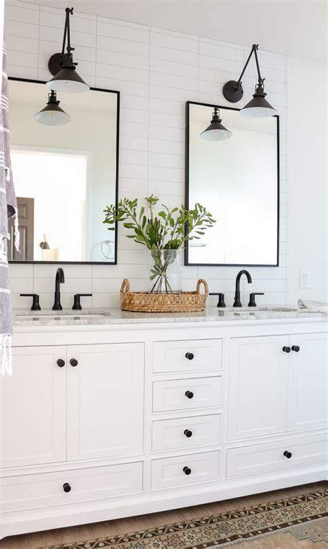 modern farmhouse master bathroom renovation  delta