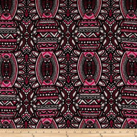 tribal jersey knit fabric jersey knit tribal print fuchsia black discount designer