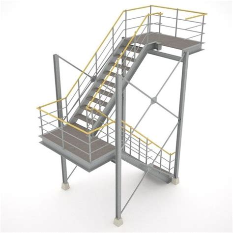 industrial stairs industrial stairs 01 3d model obj 3ds fbx hrc xsi