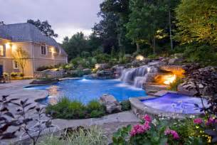 backyard swimming pools waterfalls landscaping nj