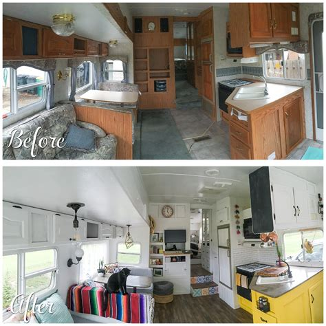 trailer for after before and after fifth wheel renovation 188sqft