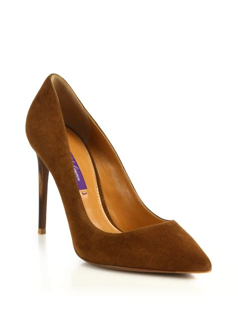 lyst ralph lauren celia ii suede horn heel pumps  brown