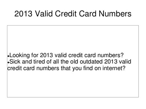 how to make a valid credit card number 2013 valid credit card numbers
