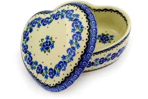 heart pattern crockery polish pottery 4 inch heart shaped jar boleslawiec