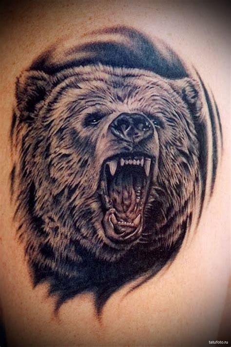тату медведь рычит мужская татуировка на плече