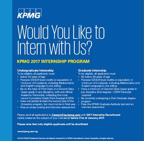 intern program kpmg nigeria undergraduate graduate internship program