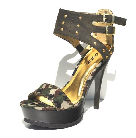 camouflage high heel shoes qupid olive camouflage womens high heel slingback