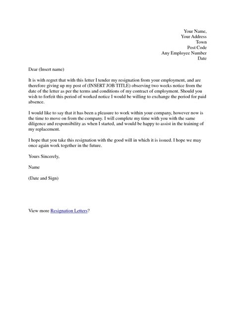 Formal Two Weeks Resignation Letter resignation letter format best sle resignation letter