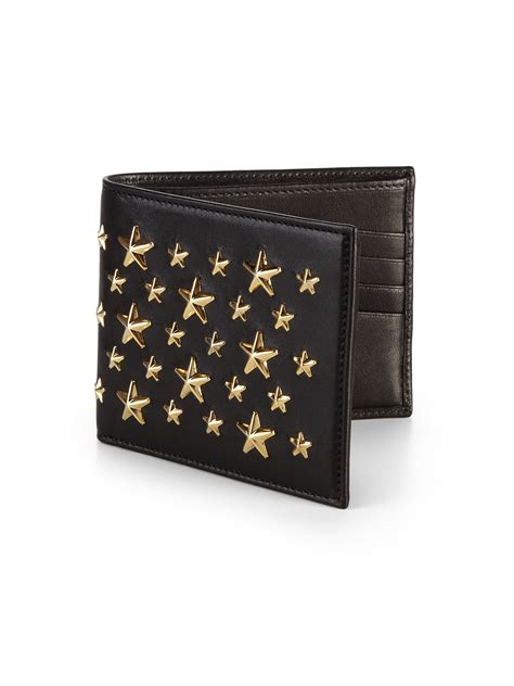 Studded Wallet lyst jimmy choo studded leather wallet in metallic