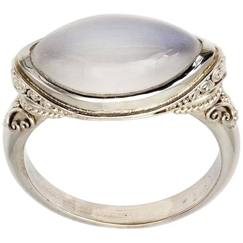 marquise moonstone and granular white gold ring for sale