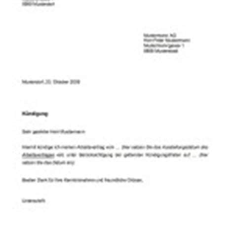 Muster Spontanbewerbung Schweiz K 252 Ndigung Muster Und Vorlagen Kostenlos