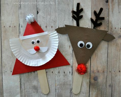 i heart crafty things santa and reindeer stick puppets