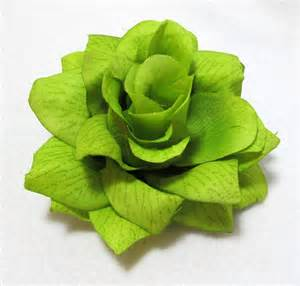 large bright lime green rose flower hair clip