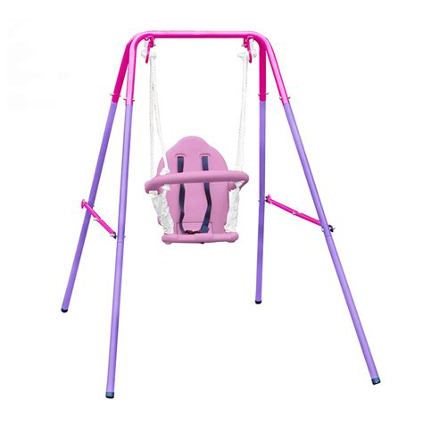 pink outdoor baby swing action nursery swing pink action sports