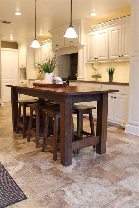 rustic farmhouse bar island table with 6 barstools