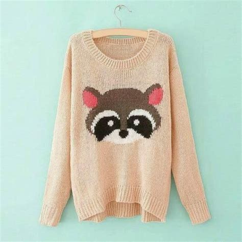 Animal Pullover sweater raccoon animal pink pastel oversized