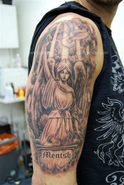 angel tattoo half sleeve designs half sleeve angel tattoo design with bird tattooshunt com