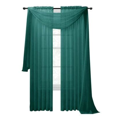 Grey And Teal Curtains Window Elements Sheer Voile Grey Teal Curtain Scarf 56 In W X 216 In L Ymc003059