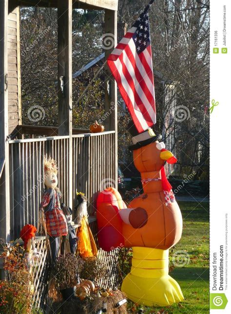 Turkey Lawn Decoration by Fall Yard With Thanksgiving Decorations And Flag Royalty Free Stock Image Image 17161336