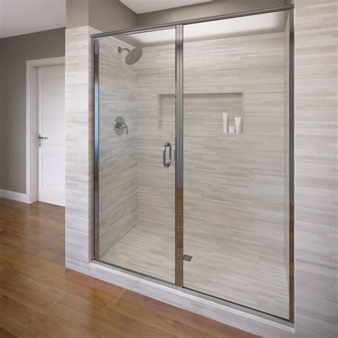 Frameless Hinged Glass Shower Doors Basco Infinity 58 In X 72 1 8 In Semi Frameless Hinged Shower Door In Silver With Aquaglidexp