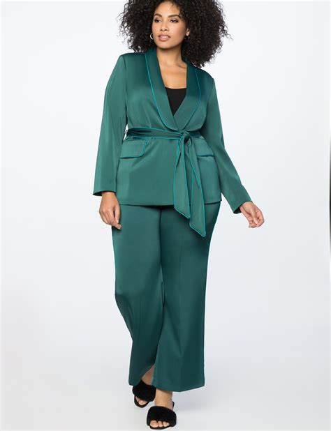 Belt Blazer piping trimmed blazer with belt s plus size coats
