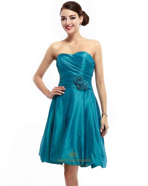 Strapless Bridesmaid Dress teal strapless taffeta ruched bridesmaid dress with