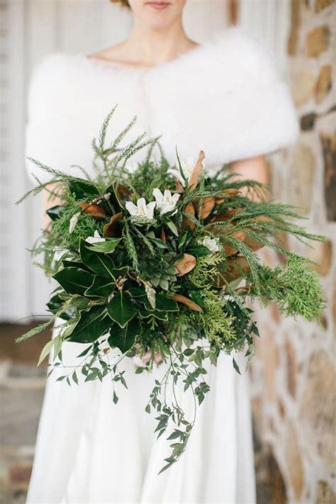 Lush Winter Greens Wedding Bouquet   Mon Cheri Bridals