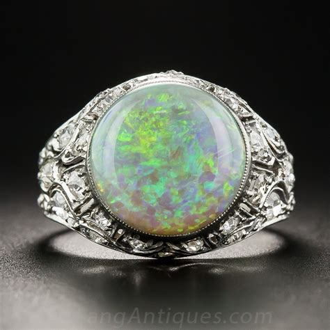 deco platinum opal and ring