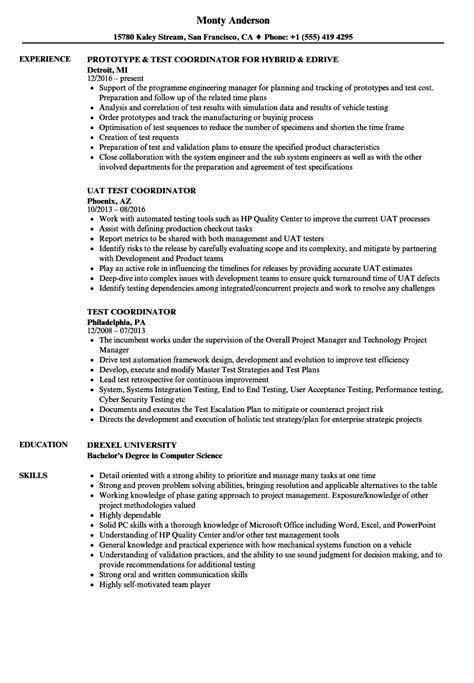 challenge result resume exles test coordinator resume sles velvet