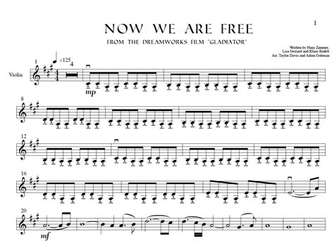 Gladiator Film Score Now We Are Free | now we are free from gladiator violin sheet music