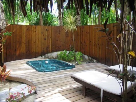tub in small backyard with deck home interior exterior