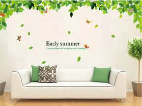 Green Wall Stickers Butterfly Leaves Foliage Wall Sticker Decal Green Leaf