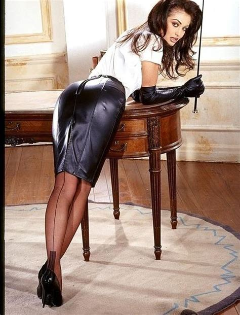 tight leather skirts stockings high heels black leather pencil skirt white blouse black leather