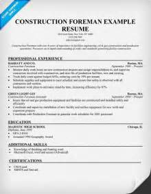 Foreman Template by Construction Foreman Sle Resume Resumecompanion