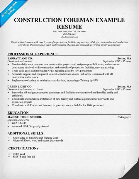 Construction Resumes by Construction Foreman Sle Resume Resumecompanion