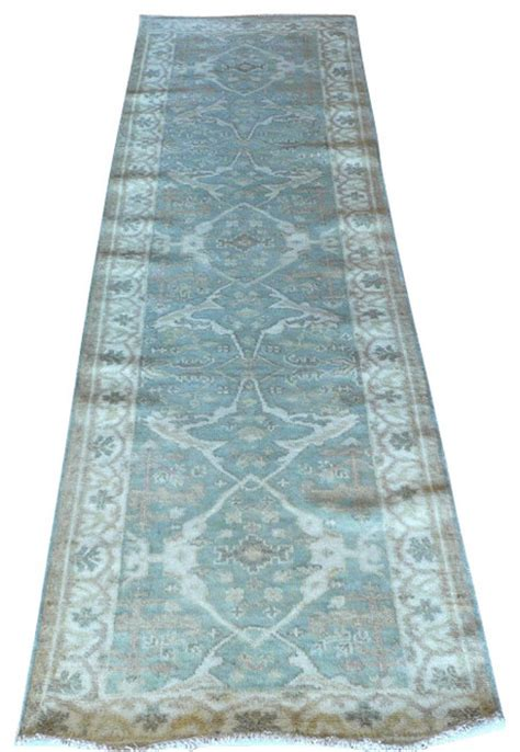 Blue Rug Runner by 3x10 Knotted Aqua Blue Oushak Runner Rug